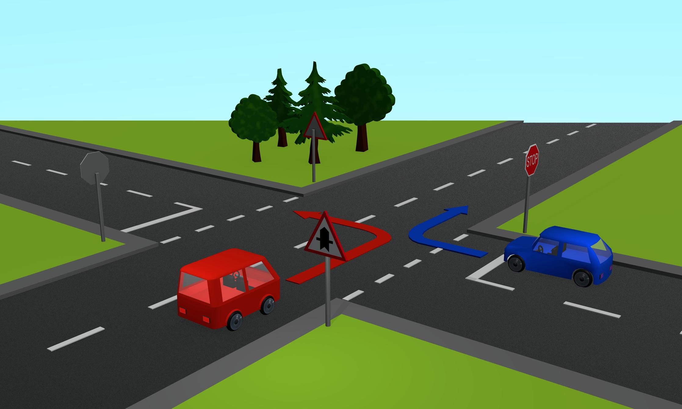 Melyik autó kanyarodhat be elsőként: a képen látható K, azaz kék vagy P, azaz piros autó?