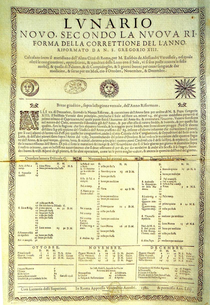 Az új naptár egy korai nyomtatott példánya.
