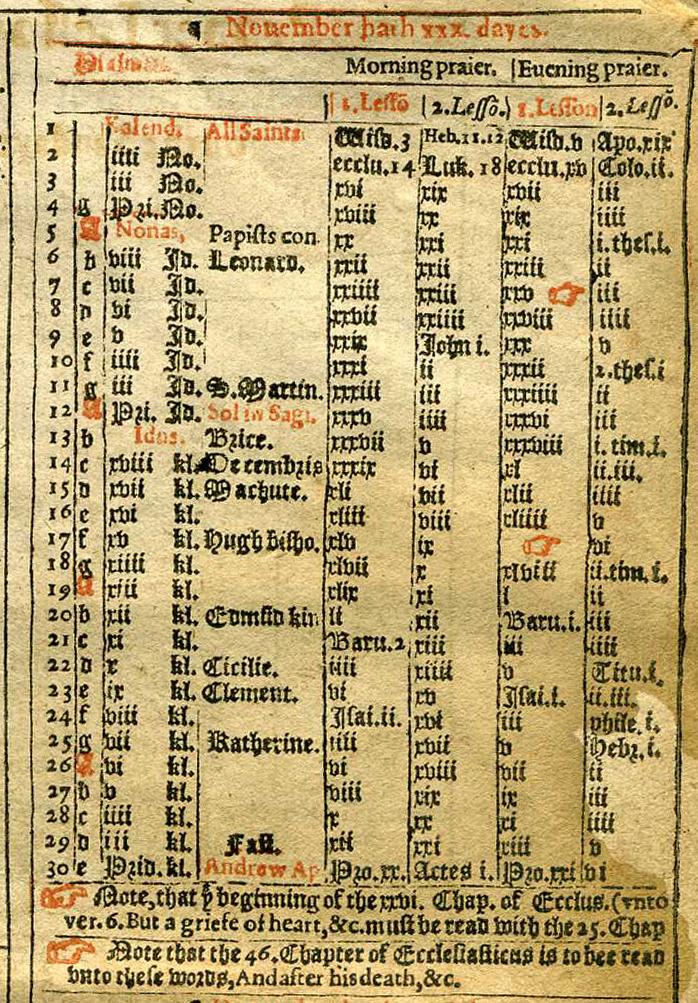 Gergely-naptár egy imakönyvből, 1614-ből.