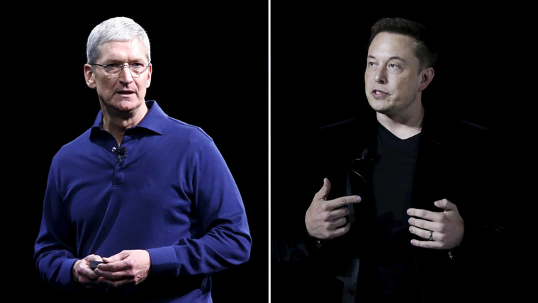 Tim Cook (balra) és Elon Musk (jobbra)