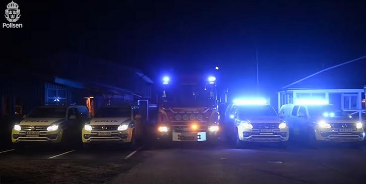 A svéd rendőrség járművei a nem mindennapi előadásban