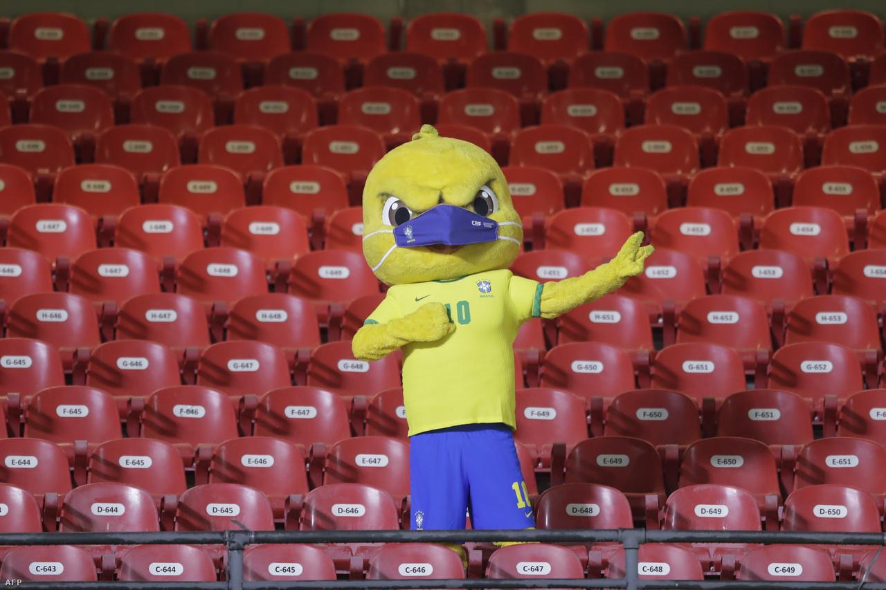 A brazil válogatott kabalája, Canarinho ezúttal nem tud kit szórakoztatni, hiszen üres a nézőtér a Sao Paulóban található Morumbi Stadionban a Brazília–Venezuela vb-selejtező előtt.