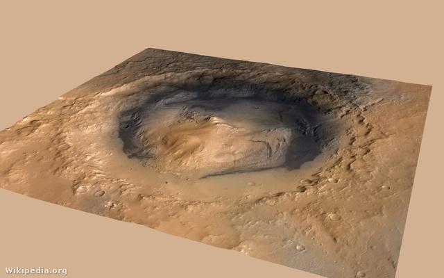 A Gale-kráterben középen az Aeolis Mons, alatta az Aeolis Palus árok
