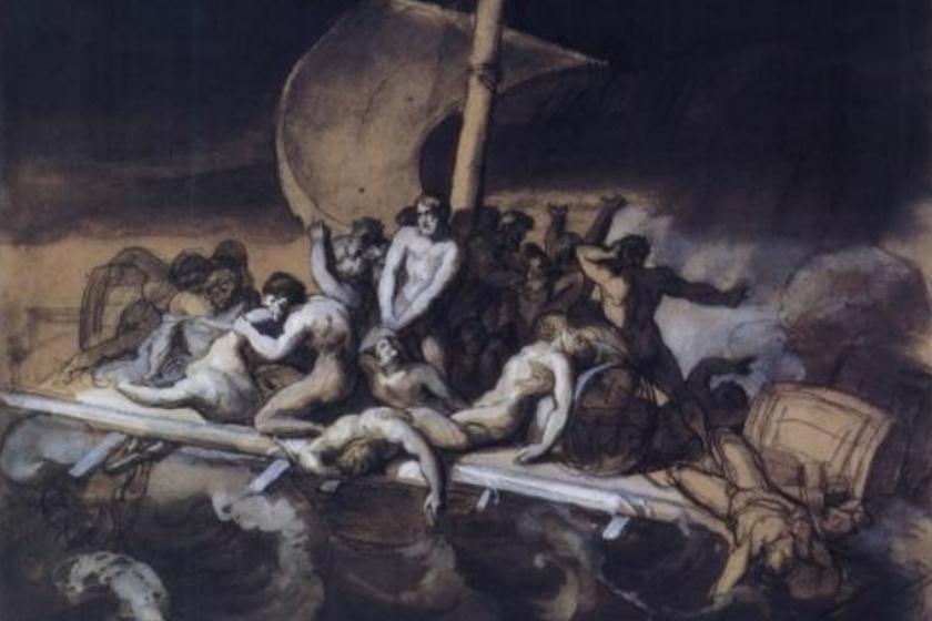 Théodore Géricault: Kannibalizmus a Medúza tutaján, tanulmány.