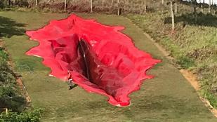 Modern művészet: egy zöldellő brazil domboldalt most hatalmas, vörös betonvagina díszít