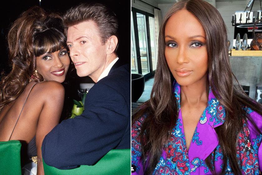 Balra Iman és David Bowie a '90-es években, jobbra a modell legfrissebb szelfije látható.