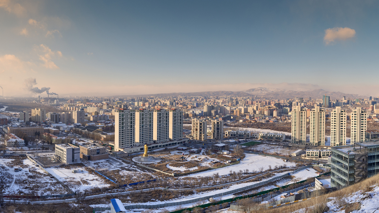 ulánbátor város lakótelep tél