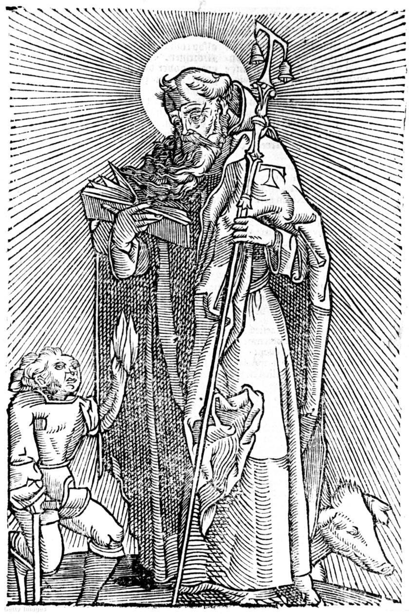 Szent Antal lábánál az aranyrozs-mérgezés áldozata kuporog.