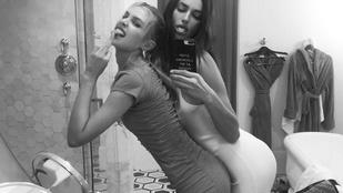 Stella Maxwell a születésnapos Irina Shayk ölébe dugta a fenekét