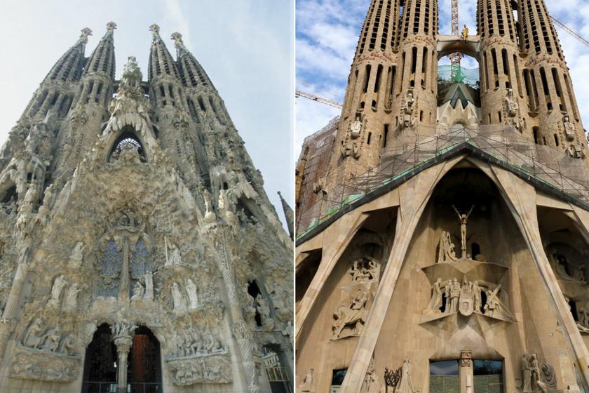 A Sagrada Família Születés- és Passió-homlokzata.