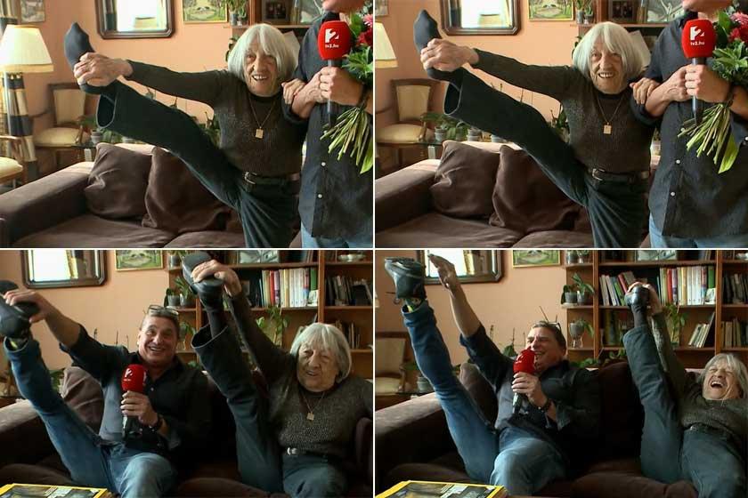 2018-ban megmutatta a Mokka stábjának, hogy 98 évesen is elképesztően hajlékony.