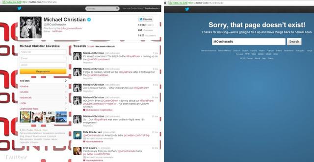 Az egyik műsorvezető Twitter-oldala, a hír megjelenése előtt és után