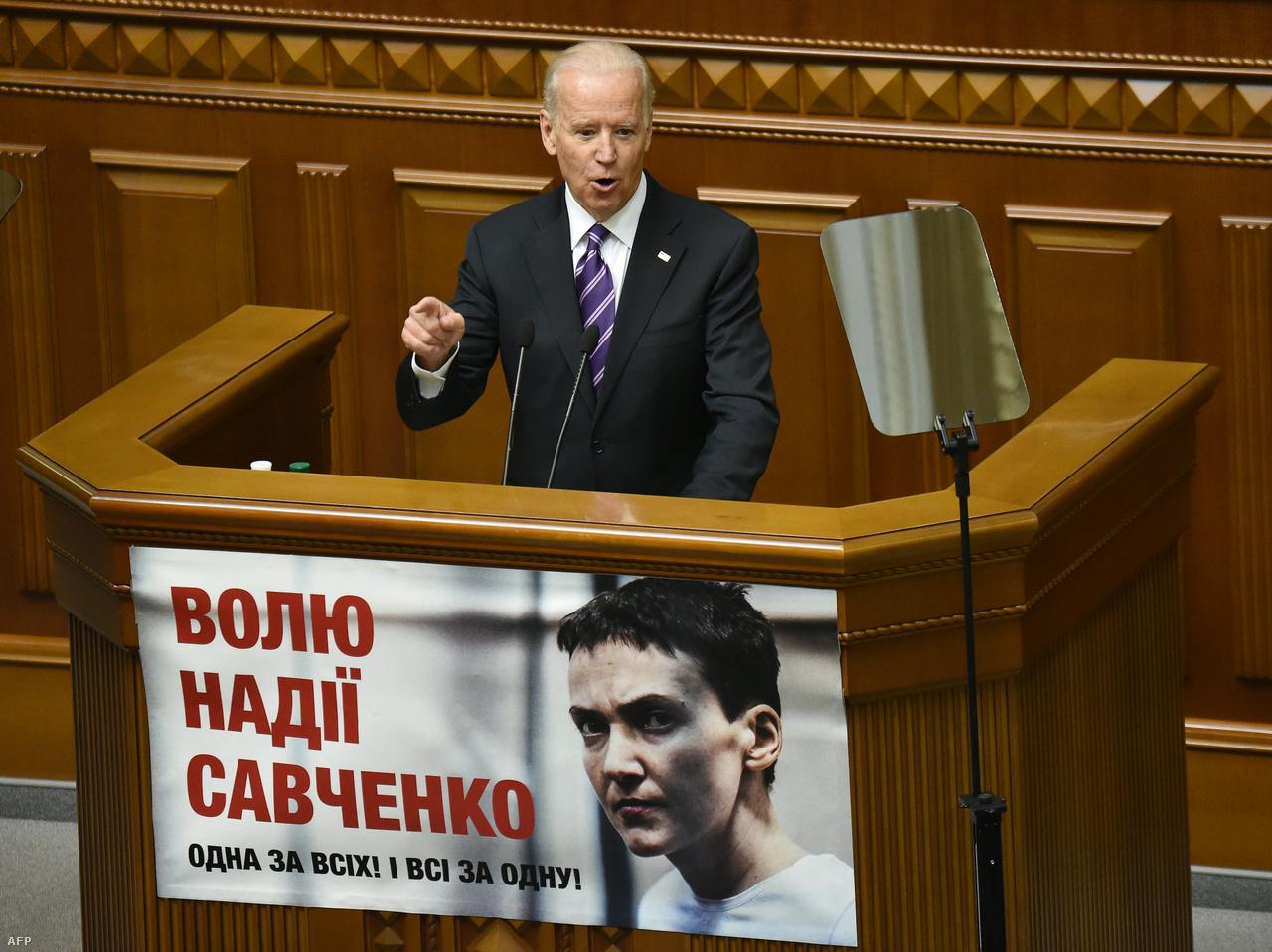 Kiemelt prioritásként kezelte az ukrajnai konfliktust. Több alkalommal is járt Kijevben, 2015-ben a parlamentben is felszólalt. Kritikusai szerint 2014-ben még alelnökként egy egymilliárd dolláros segély megvonásával fenyegette meg Petro Porosenko, akkori ukrán elnököt, hogy nevezzék ki kisebbik fiát, Huntert a Burisma Holdings igazgatói tanácsába. Ezután pedig nyomást gyakorolt Kijevre, hogy menesszék a vállalat ellen vizsgálódó Viktor Sokin főügyészt. Azóta az amerikai hatóságok vizsgálódnak Hunter ukrajnai tevékenysége után, de a Burisma-ügy végül nem Bidennek, hanem Donald Trumpnak vált kárára. A távozó elnök ellen ugyanis ennek az ügynek a kapcsán indították meg az első impeachment eljárást.