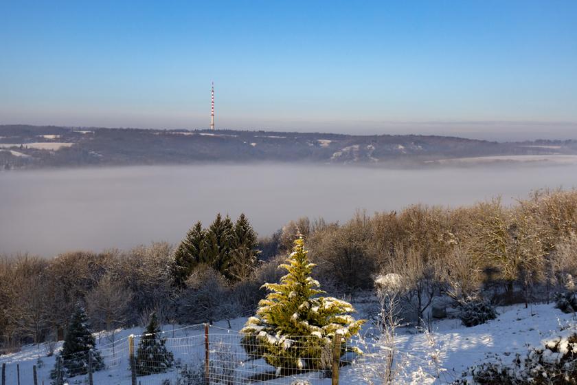 Ködös téli reggel a Zalai megyei Nagybakónak közelében.