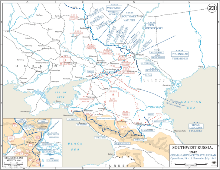 Térkép a német előrevonulásról Sztálingrád felé 1942-ben.