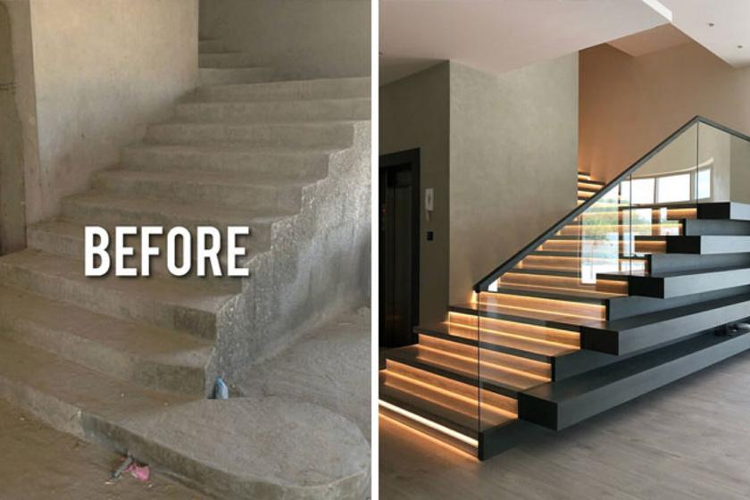 Egy unalmas betonlépcső is lehet a lakás éke egy kis átalakítással.