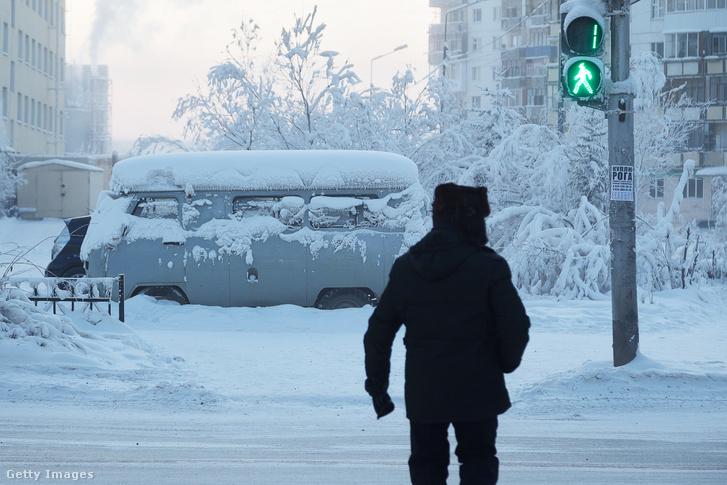 Jakutsz városa -30ºC-ban 2020. január 15-én.