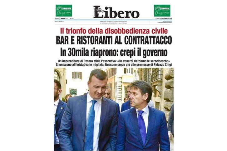 A Libero nevű olasz napilap 2021. január 15-ei címoldala.
