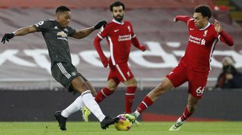 Hiába a hatalmas Liverpool-fölény, az MU egy pontot elvitt az Anfieldről