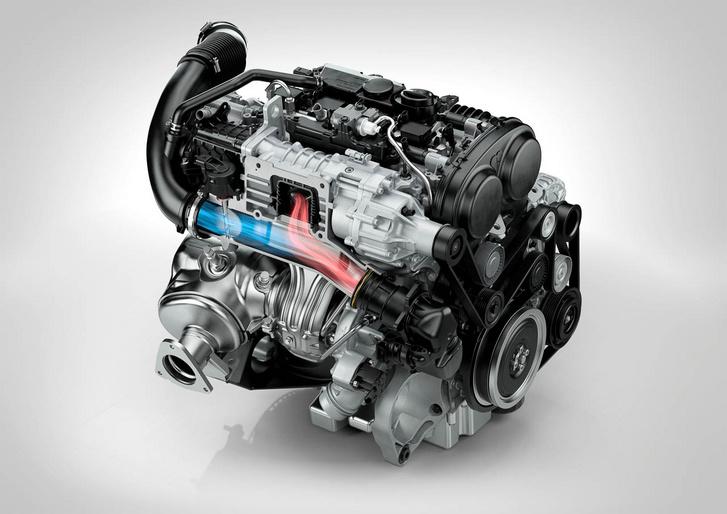 Kis fordulaton a főtengelyről, szíjjal hajtott kompresszor segít növelni a forgatónyomatékot és javítani a gázreakciót a Volvo kétliteres benzinmotorján, míg a nagy csúcsteljesítményt (306 LE) már turbóval érik el