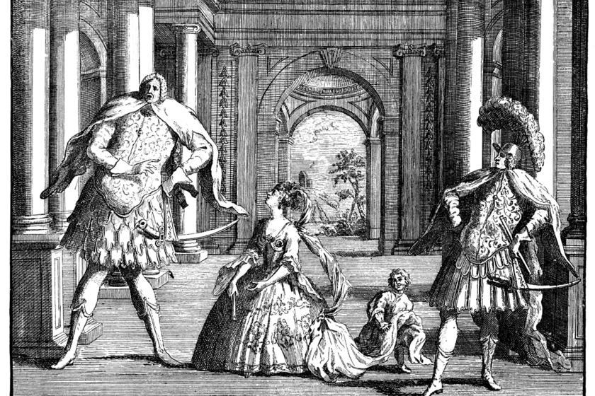 Három kasztrált énekes adja elő Händel egyik operáját, William Hogarth műve.