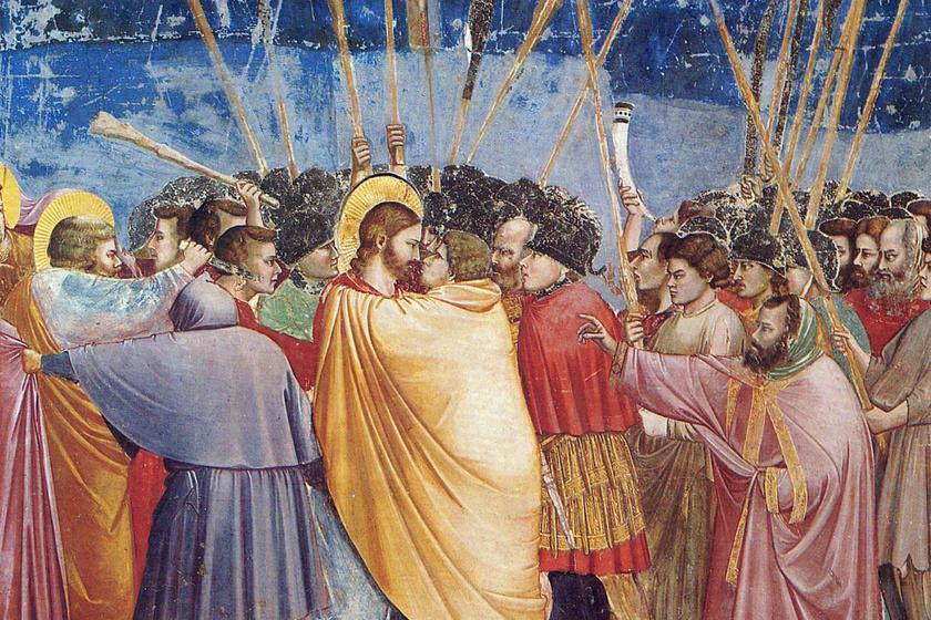 Júdás csókja, amellyel elárulta Jézust, megmutatva az elfogására érkező csapatnak, hogy kit kell elkapniuk, számos műalkotáson szerepel. Többek között Giotto főművén, a padovai Scrovegni-kápolna 14. századi freskódíszítésén is látható.