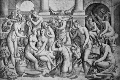 nők fürdő kép középkor