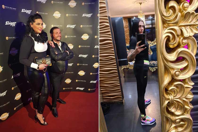 """Tina és Emilo 2019 őszén, illetve az énekes felesége friss fotóján. """"Eddig -25 kg, és viszlát, hosszú haj"""" - írta a jobb oldali képhez."""