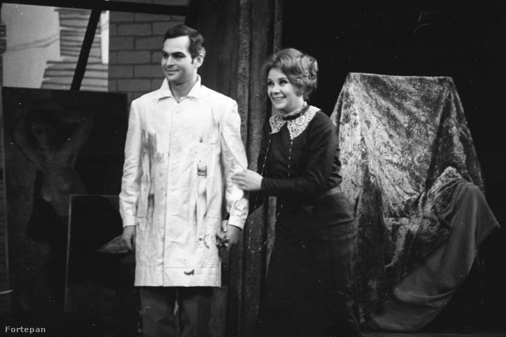 Latinovits Zoltán és Ruttkai Éva a Vígszínház kamara-előadásán George Bernard Shaw Az orvos dilemmája című darabjában, 1965-ben