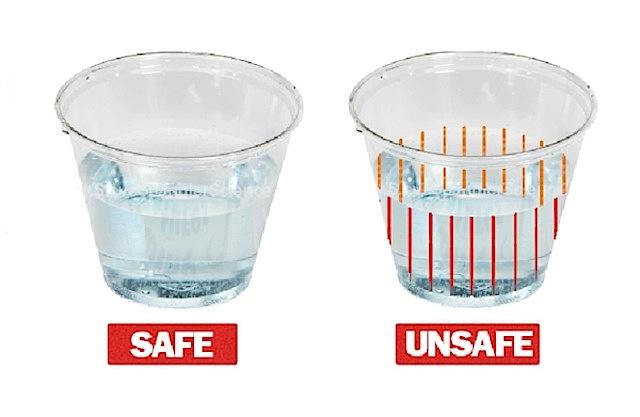 DrinkSavvy drogjelző pohár, balra a biztonságos ital, a jobb oldaliba drogot kevertek - Forrás: DrinkSavvy - Indiegogo.com