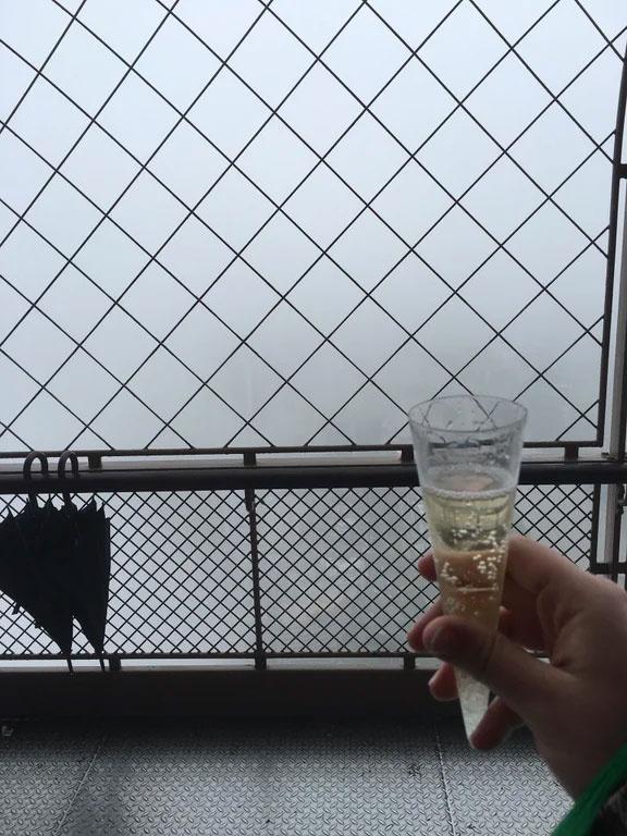 A nászutasok úgy gondolták, megisznak egy pohár pezsgőt az Eiffel-torony tetején, és megnézik Párizst fentről.