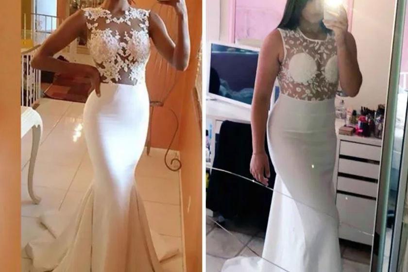 A ruha felső része valahogy sokkal másabbnak tűnt a fotón, mint a valóságban. Valószínűleg a lány sem erre számított.