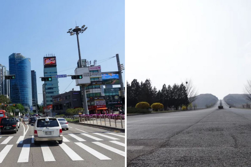 Utca Dél-Koreában és Észak-Koreában.