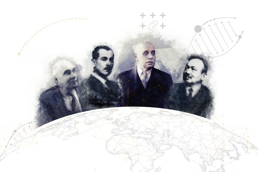 Balla Sándor (balról), Kereszty György, Richter Gedeon és Wolf Emil a magyar gyógyszergyártás ikonikus alakjai közé tartoznak.