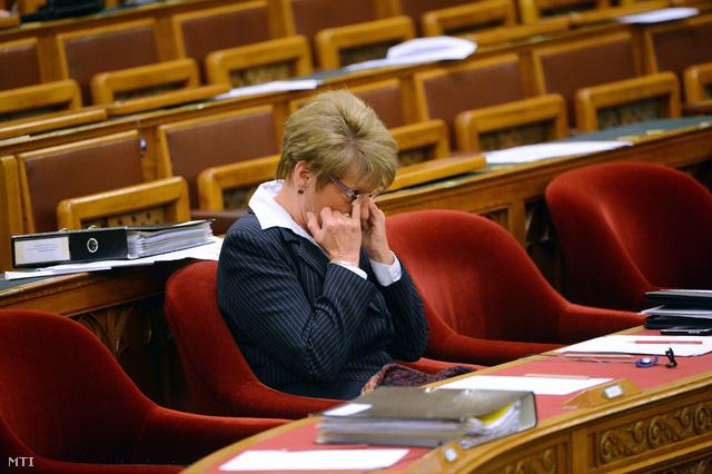 Hoffmann Rózsa a köznevelési feladatot ellátó egyes önkormányzati fenntartású intézmények állami fenntartásba vételéről szóló törvényjavaslat vitája alatt november 7-én.