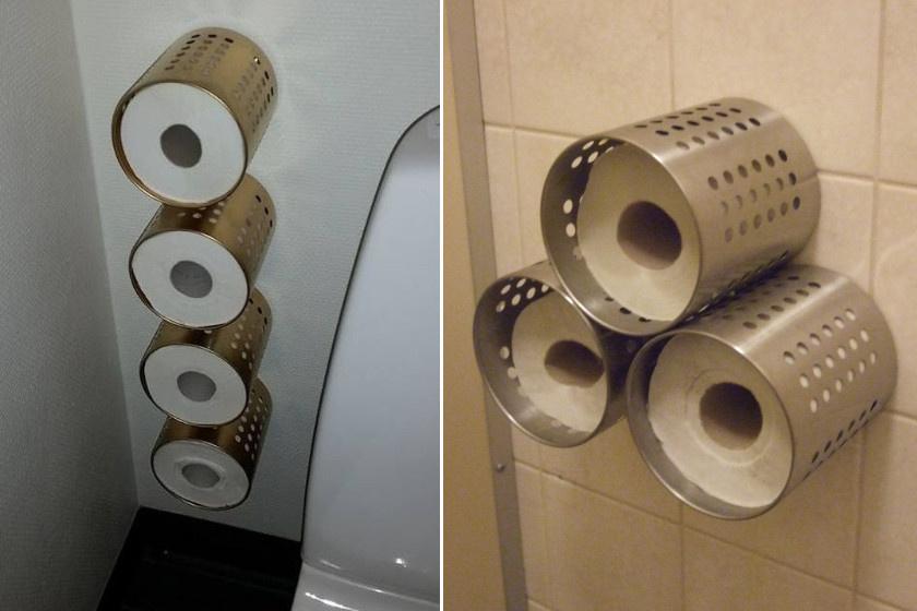 Szerezz be néhány fém evőeszköztartót, és fúrd fel a falra! Az újragondolt WC-papír-tárolók elrendezése csak fantázia dolga.