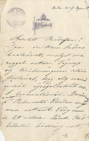Erzsébet levele fiának, Rudolfnak (Buda, 1867. május 15.)