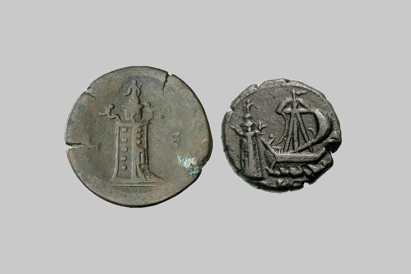 2. századi alexandriai pénzérmék a világítótorony képmásával.