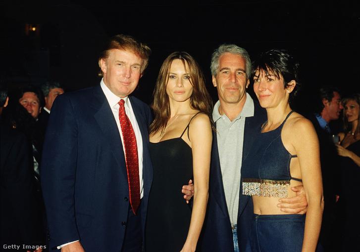 Jeffrey Epstein és Ghislaine Maxwell Donald és Melania Trump társaságában Mar-a-largoban 2000. február 12-én.