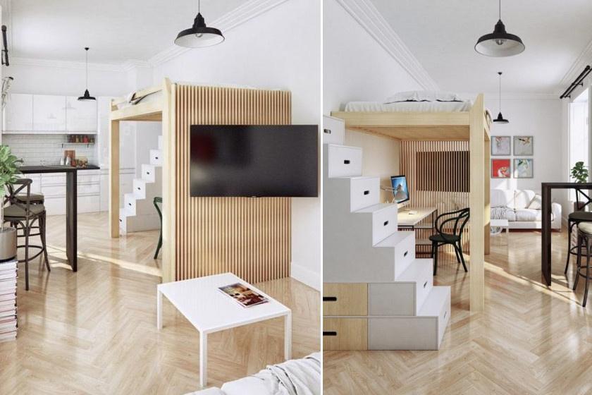 Ez a kis lakás hemzseg a szuper megoldásoktól: a hálóhelyet emelő galéria szokatlan módon középen helyezkedik el, így körbejárható. Lépcsője szekrény, másik felére térelválasztó került, így szuper home office birodalmat alakíthattak ki alatta.