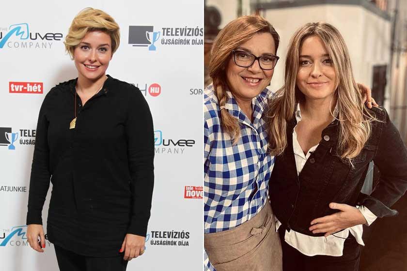 Wossala Rozina a 2018-as Televíziós Újságírók Díja gálán és egy január végi forgatáson Borbás Marcsival.