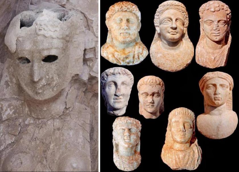 A halotti maszk és további portrészobrok a területen eltemetettekről.