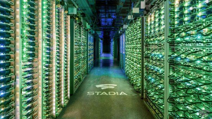Így néz ki egy Google Stadia szerverparkja–szép zöld, és sok-sok gép van benne (Forrás: Google Stadia médiakit)