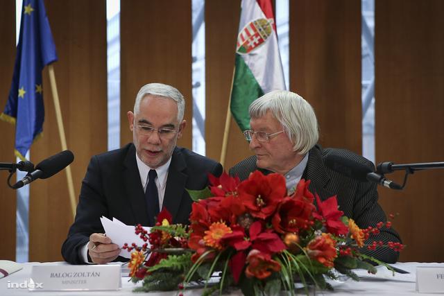 Balog Zoltán miniszter és Fekete György MMA-elnök a közgyűlésen