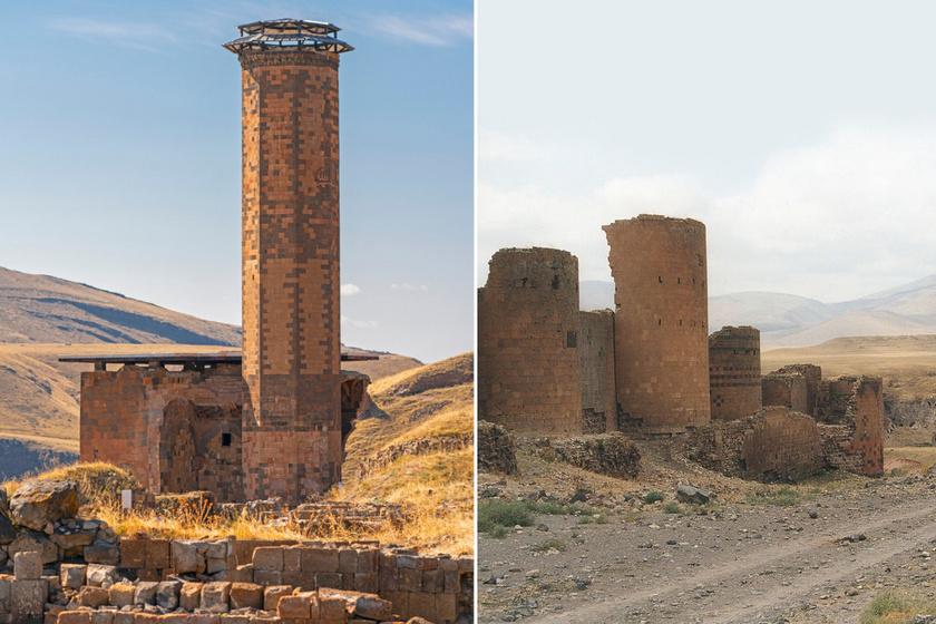 A Manuchihr mecset (12-13. század) és a városfalak egy része, tornyokkal.
