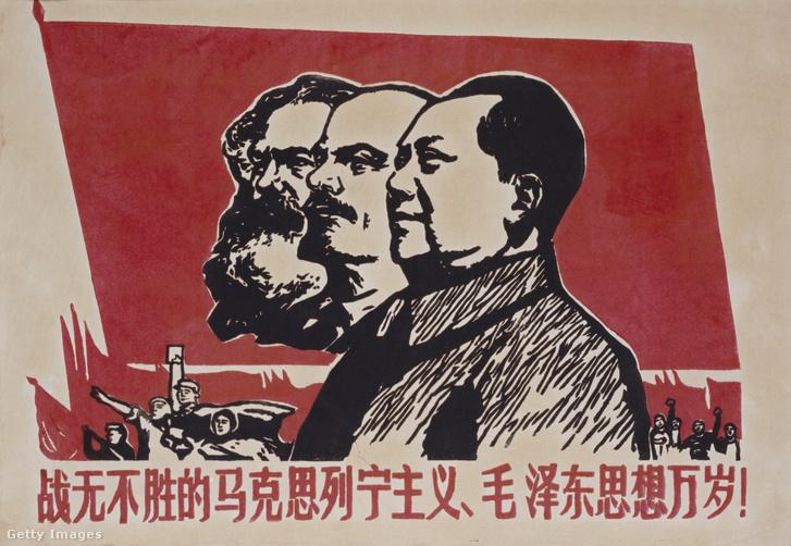 Kínai propagandaplakát Karl Marx, Vlagyimir Iljics Lenin és Mao Ce-tung arcképével.