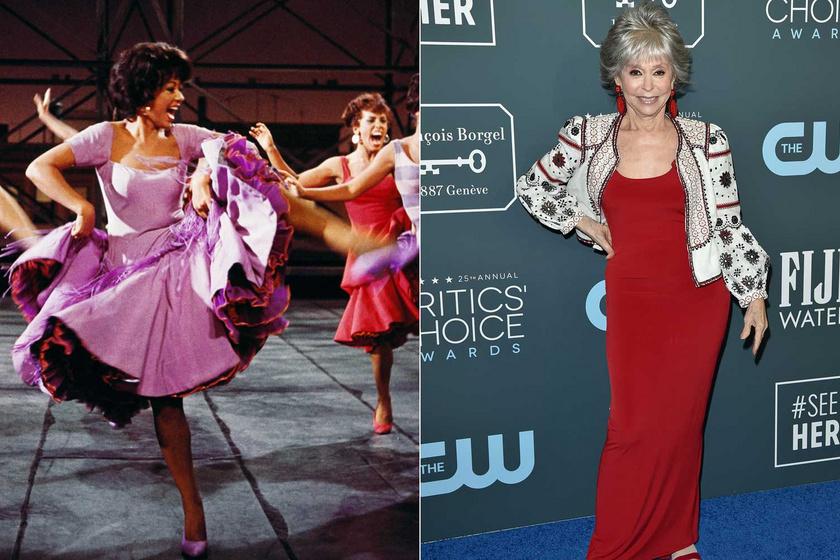 Rita Moreno 1961-ben a West Side Storyban és 2020 januárjában a Critics' Choice Awards-díjátadón. Semmit sem veszített a tűzrőlpattant kisugárzásából.