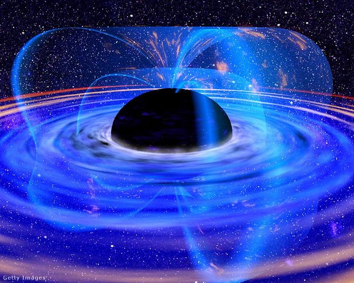 Forró gáz örvénylése a fekete lyuk eseményhorizontja körül