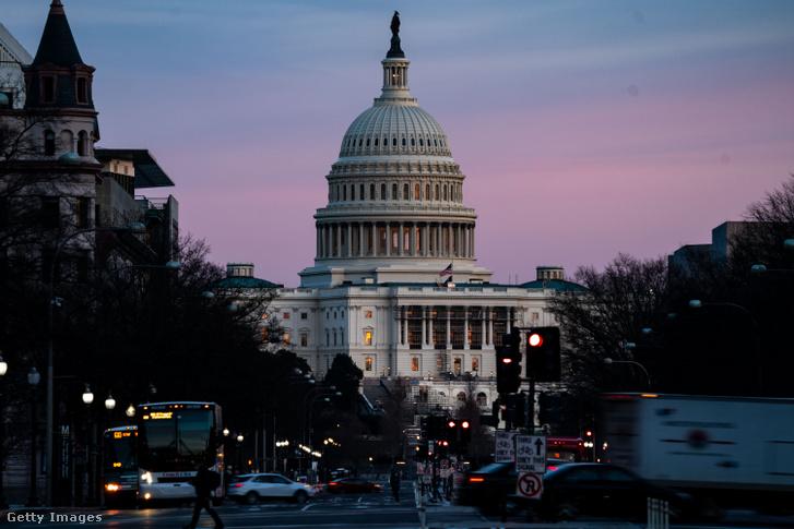A Capitolium épülete Donald Trump második vádemelésének napja előtt, 2021. február 8-án