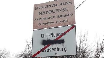 Megrongálták a magyar feliratot a kolozsvári helységnévtáblán